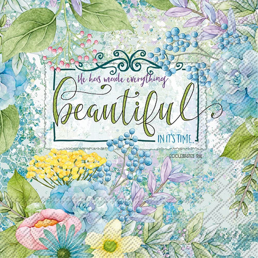 Celebrate the Home Inspirational 3-Ply Paper Luncheon Napkins, Everything Beautiful, 20-Count