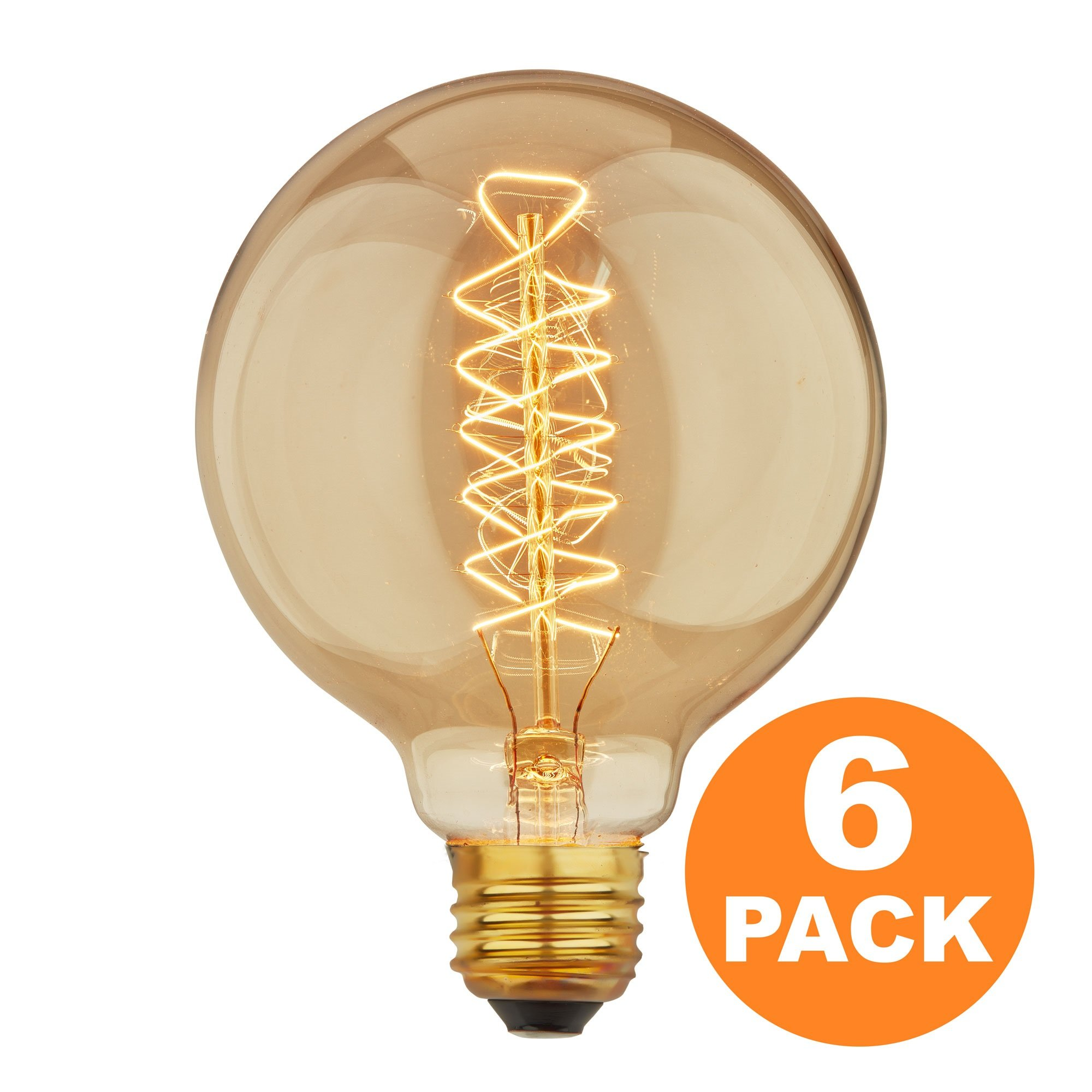 Vintage Edison Bulbs with Spiral Filament, 60W Dimmable E26/E27 G95 Round Globe Large Antique Light, Golden Finish Industrial Design Amber Warm 120V [6 Pack]