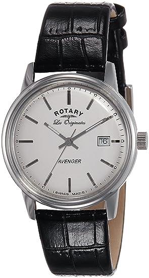 Rotary Les Originales GS90062/06 - Reloj para hombres, correa de cuero color negro