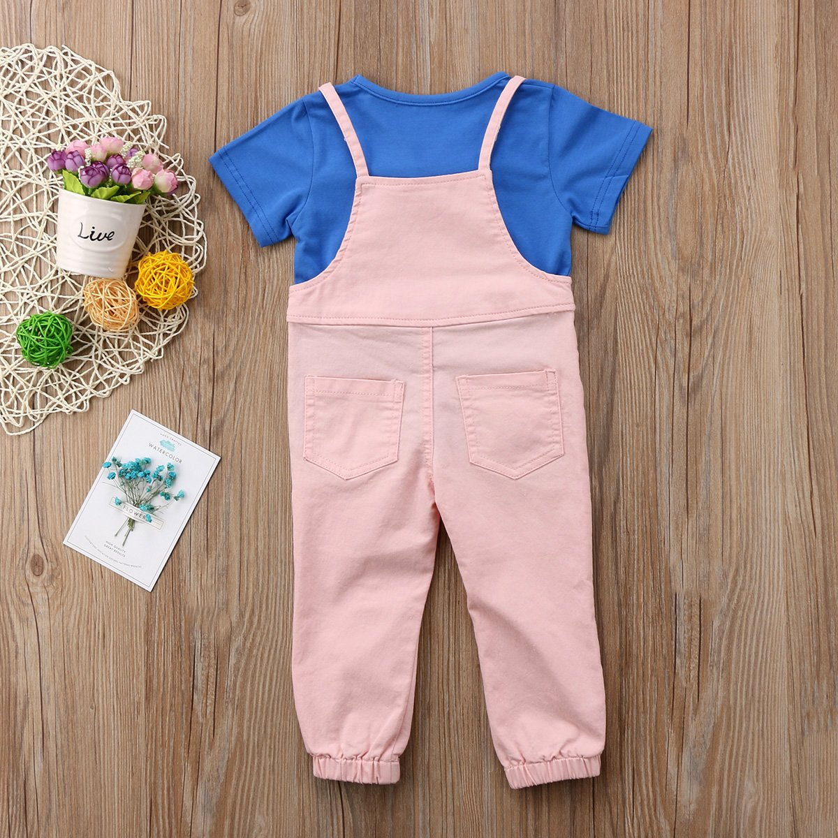 Annvivi Baby Girls Short Sleeve T-Shirt Suspenders Pant Overalls 2pcs Outfits Set