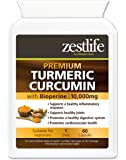 Zestlife Turmeric / Curcumin 60 Capsules 500mg extract equivalent to 10,000mg - A Strong Anti-oxidant / Helps to reduce inflammation in the body
