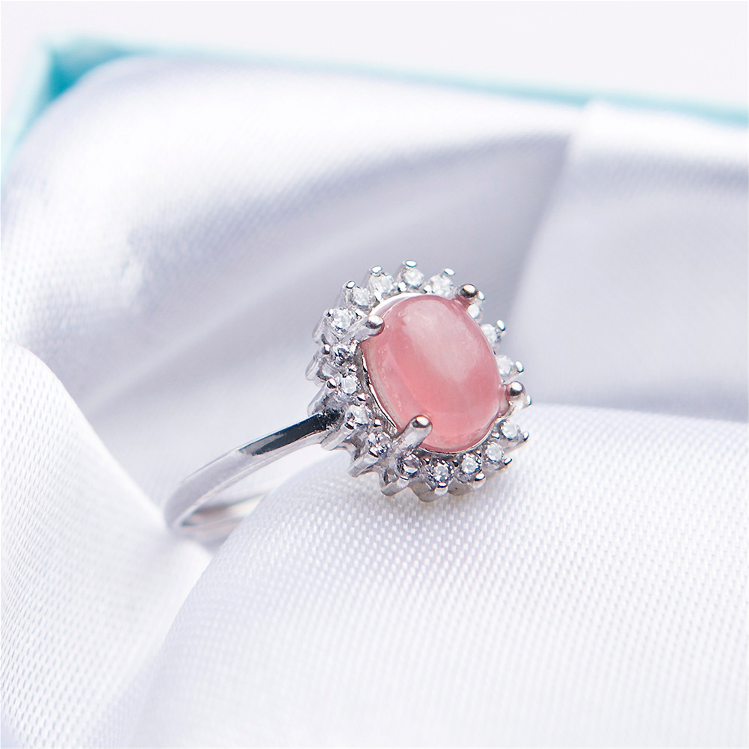 LiZiFang Natural Red Rhodochrosite Gemstone Crystal Fashion Silver Wedding Rings Adjustable Size by LiZiFang (Image #2)
