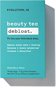 Evolution_18 Beauty Debloat Tea, Cleanse, Detox & Boost Metabolism, Mixed Berry Flavor, 7.3 g (14 Servings)