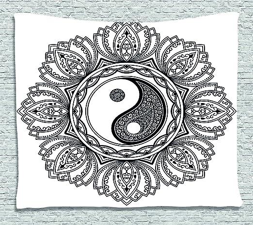 ABAKUHAUS Zen Tapiz de Pared, Símbolo de Yoga asiático Floral ...