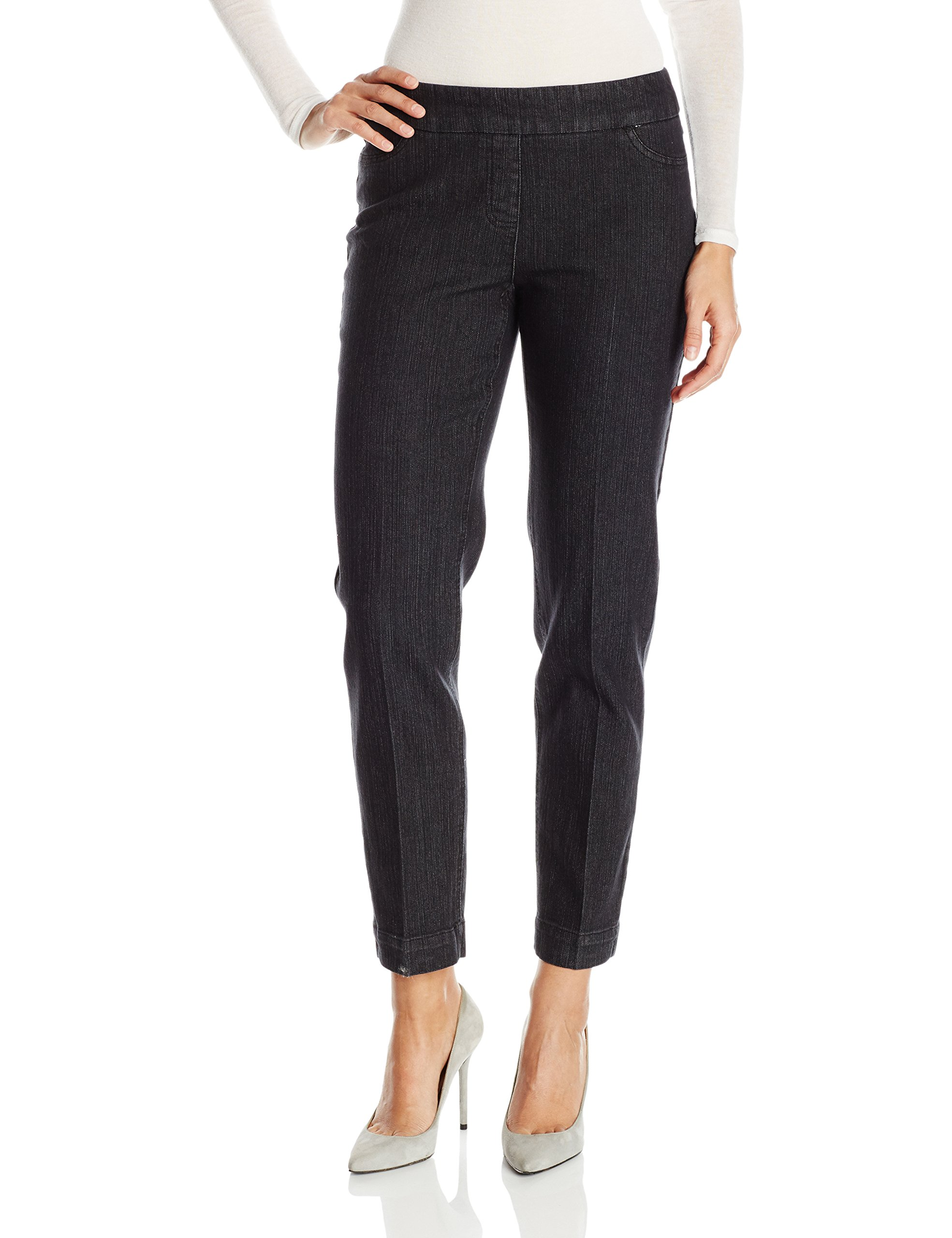 SLIM-SATION Women's Wide Band Pull on Ankle Pant with Tummy Control, Black Denim, 14