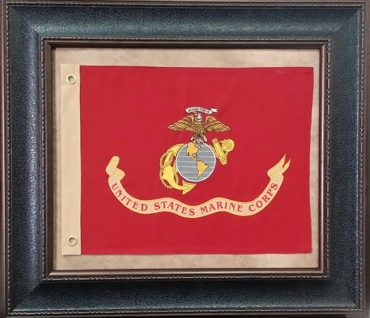 US Marine Corps Military Flag Vintage Canvas Print Picture Frame Home Decor Man Cave Wall Art Collection Gift Ideas (USA Marines Flag Framed)