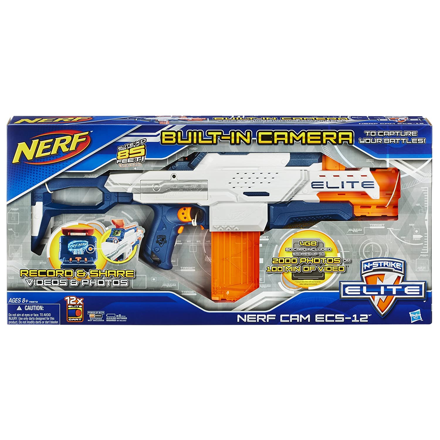 Amazon.com: Nerf N-Strike Elite Nerf Cam ECS-12 Blaster(Discontinued by  manufacturer): Toys & Games