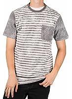 MO7 Men's Bleached Stripe Novelty Pocket T-Shirt