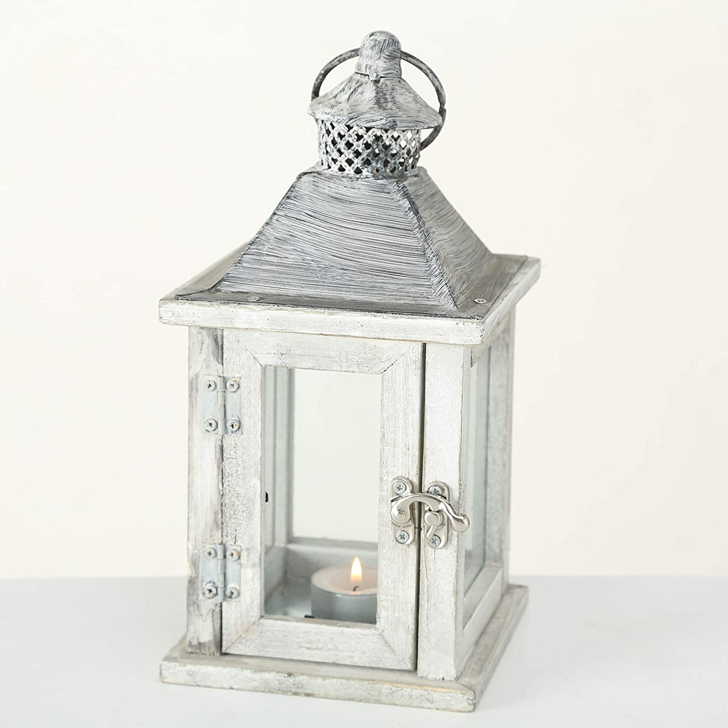 10 Inches Tall Galvanized Metal Floor Plate White Stained Fir WHW Whole House Worlds Farmers Market Wooden Candle Lantern Hurricane Rustic Dark Metal Roof Shabby Weathered Finish