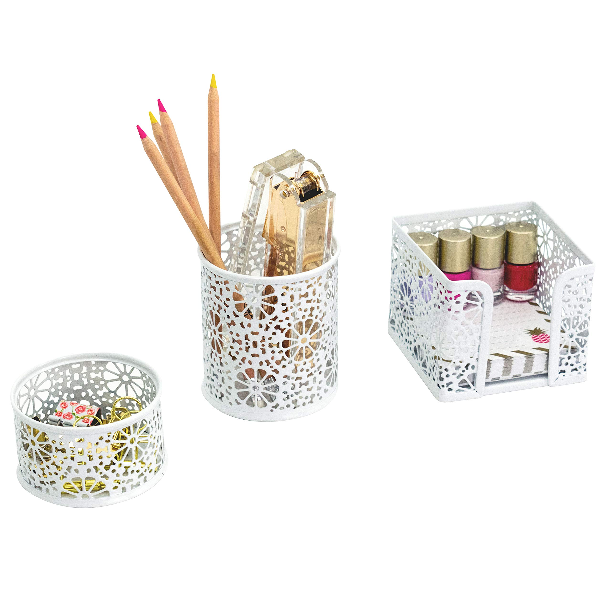 Blu Monaco White Desk Organizer for Women - 3 Piece Desk Accessories Set - Paper Clip-Accessory Tray, Sticky Note Holder, Pen Cup - White Floral Sunflower Pattern