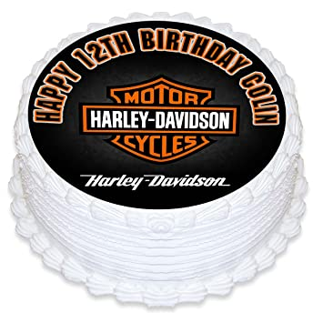 Harley Davidson Motorcycles Cake Topper Personalized Birthday 8quot Round Circle Decoration Party Sugar Frosting