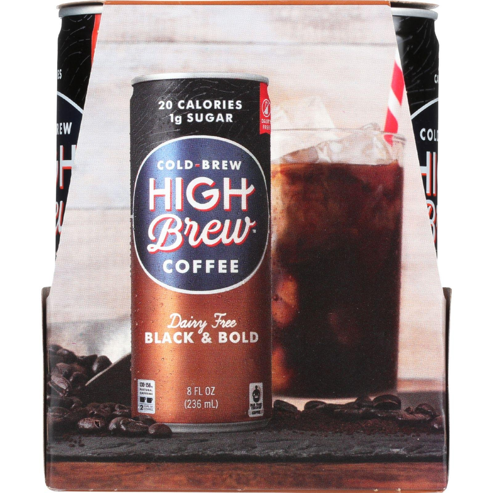 High Brew Coffee 8 Fluid Ounce Black and Bold Coffee, 4 count per pack -- 6 per case.