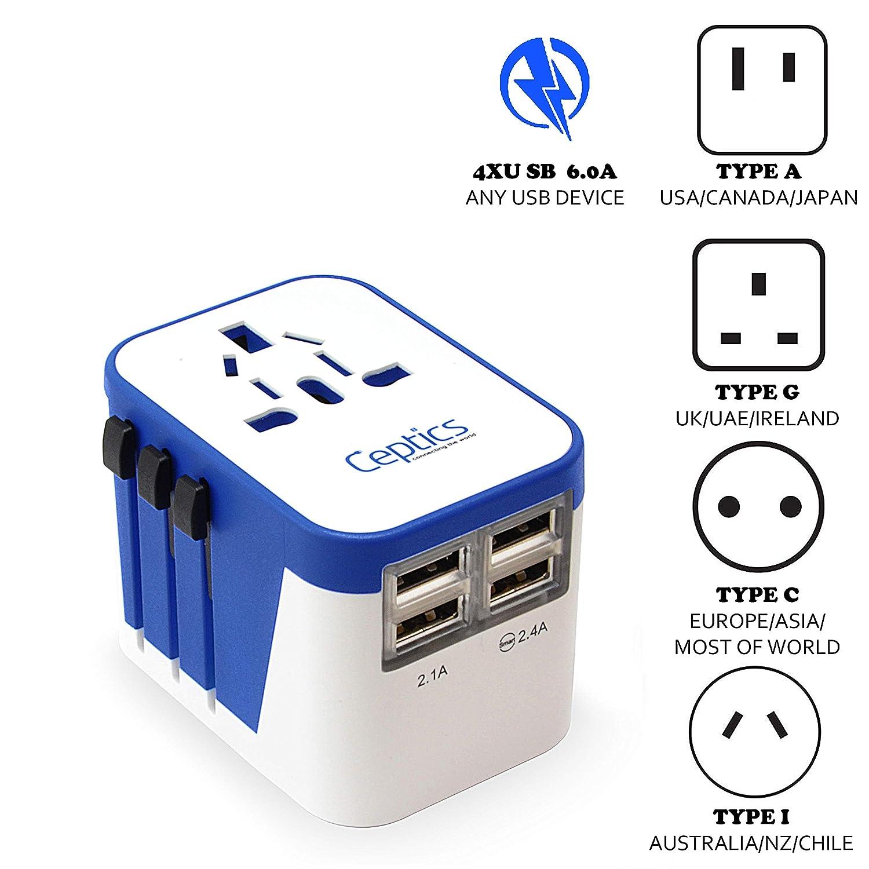 amazon com ceptics travel adapter plug world power w 4 usb ports rh amazon com