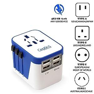 Ceptics Travel Adapter Plug World Power W/ 4 USB Ports - Charge Cell Phones, Smart Watches, iPhones All over the World- For International Europe, China, UK, UAE, Australia - Type A, C, G, I - (UP-9KU)