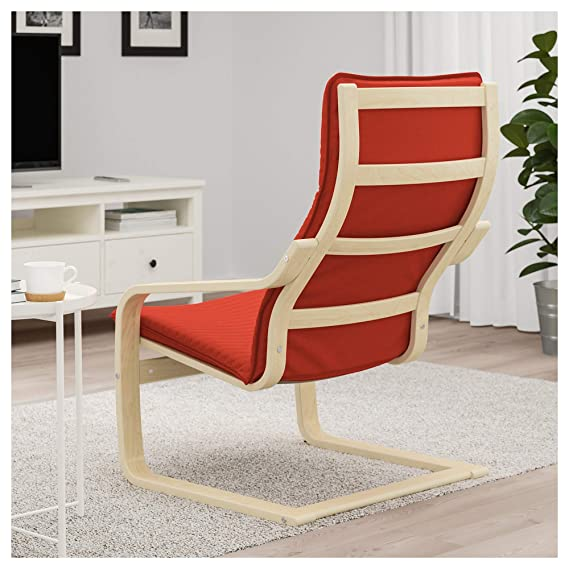 IKEA Poang Chair Armchair with Cushion, Cover and Frame (Knisa Red/Orange) Bundle with Feltectors Cleaning Cloth