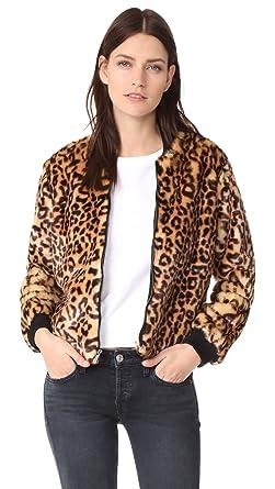 be55cbd61eb1 Splendid Women's Leopard Faux Fur Bomber Jacket, Tank, Medium ...