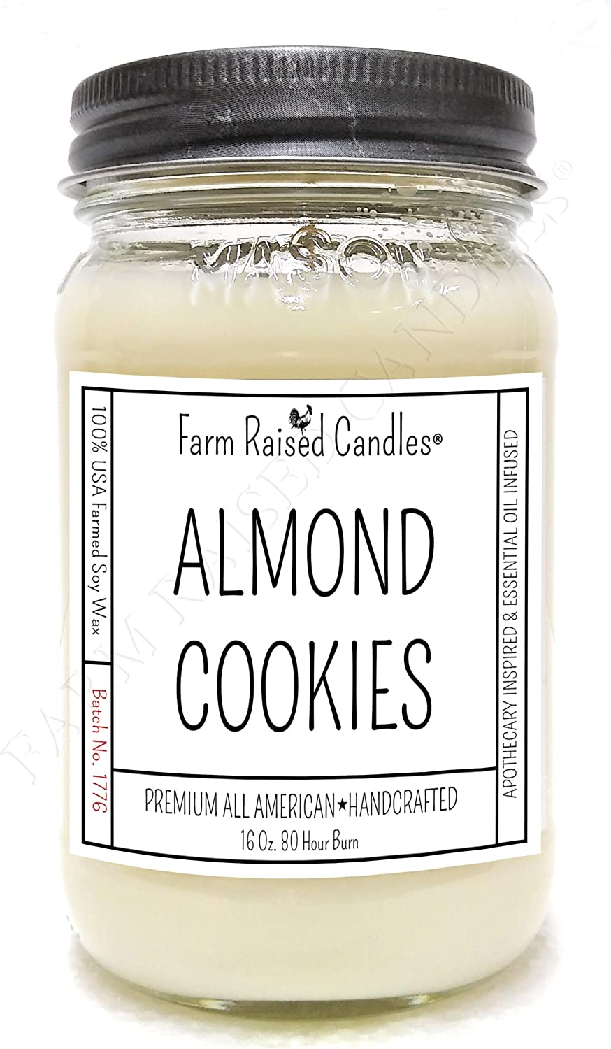 All American Handmade Mason Jar Candle. 16 Ounces Over 80 Hour Burn. 100% Natural Soy Wax Candle. (Almond Cookies)