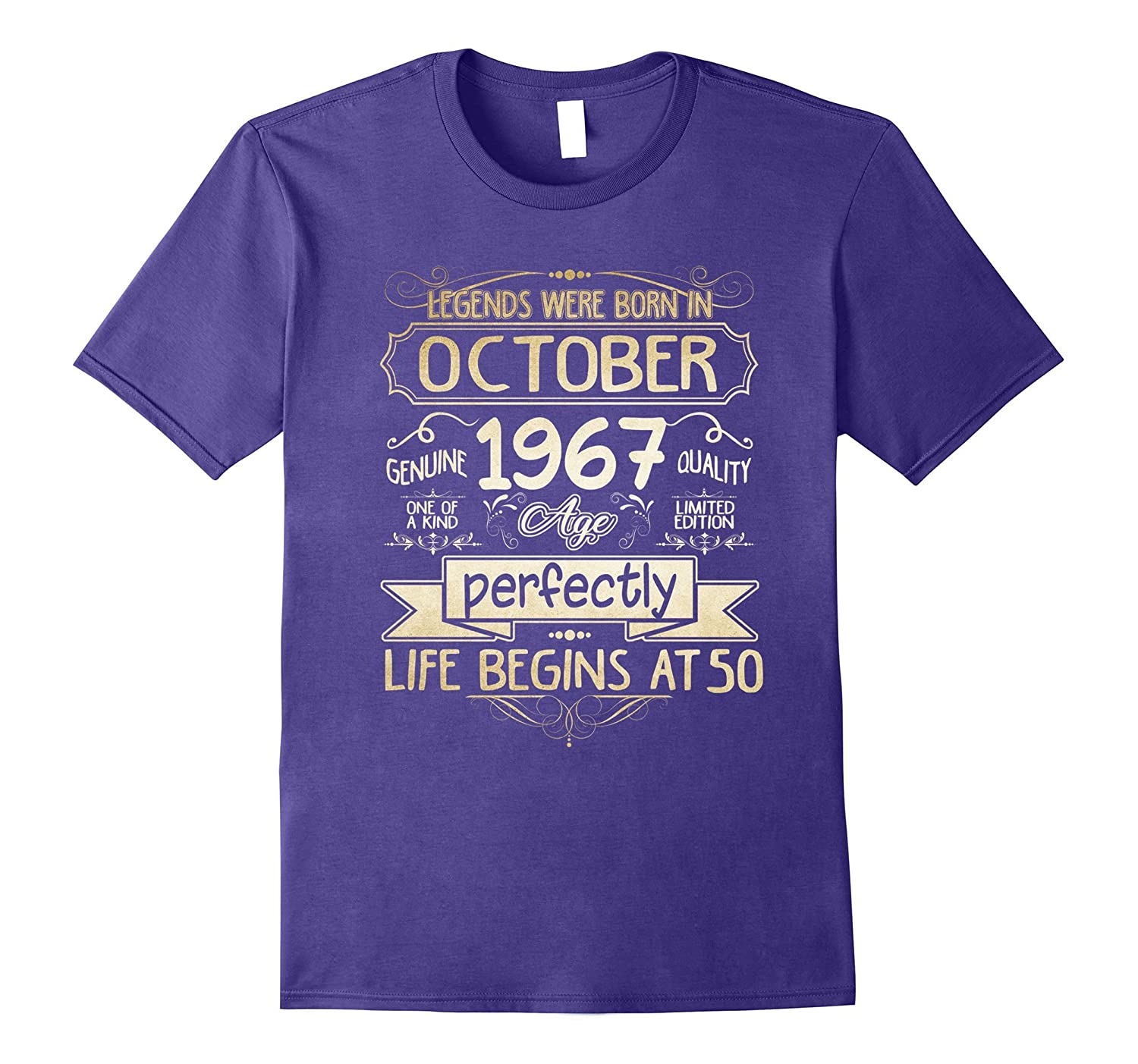 Legends Were Born In October 1967 T-Shirt 50th-TJ