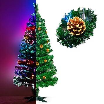 Künstlicher Weihnachtsbaum Mit Licht.Künstlicher Glasfaser Weihnachtsbaum 150 Cm Mit Led Beleuchtung Und Echten Vergoldete Zapfen Christbaum Tannenbaum