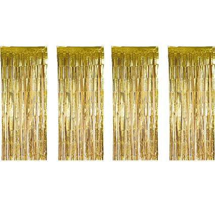 Sumind 4 Pack Foil Curtains Metallic Fringe Shimmer Curtain For Birthday Wedding Party Christmas Decorations