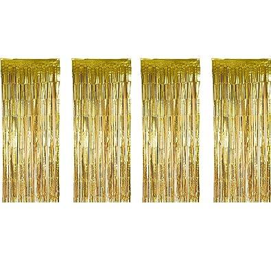 4 Piezas de Cortina de Oropel Metálica Cortina Brillante de Borlas de Lamina para Decoración de Navidad Fiesta de Boda (Dorado)