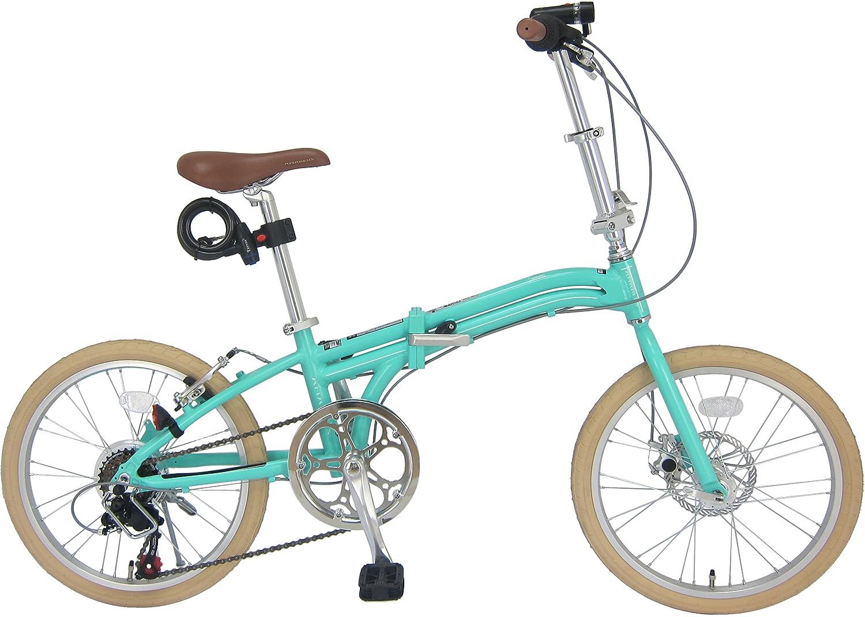 JEFFERYS(ジェフリーズ) AMADEUS Hunter Fox 折りたたみ自転車 20インチ 軽量アルミフレーム 約12.0kg フロントディスクレーキ シマノ6段変速 LEDライト/ワイヤーロック/スタンド 標準装備 B016Z6MBWC ライトグリーン ライトグリーン