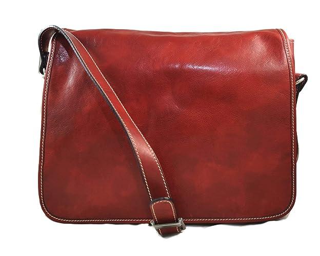 def961a260 Borsa messenger uomo donna borsa postino messenger tracolla postino vera  pelle rosso cartella portadocumenti