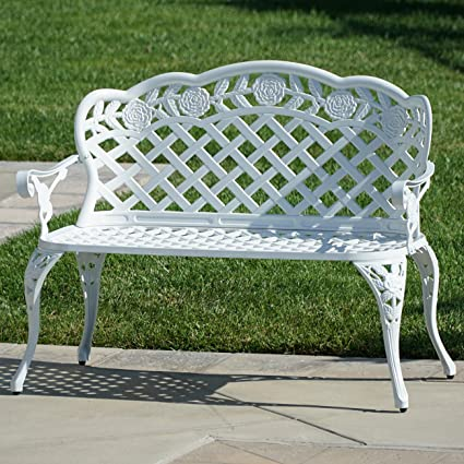 Belleze Outdoor Garden Bench Antique Cast Aluminum Backyard Furniture Patio  Porch, White