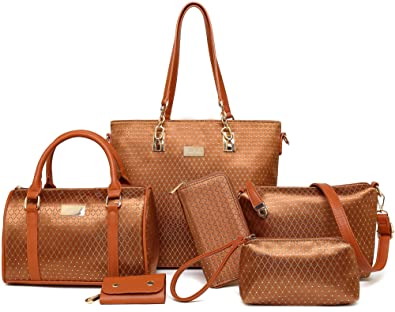 a8dd78e593d39 Women Shoulder Handbag for Work Purse 6 Piece Set Bag (Brown-815 ...