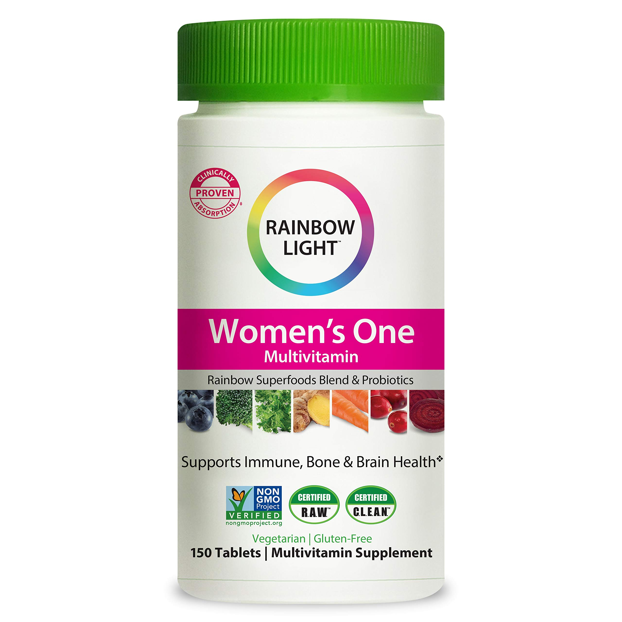 Rainbow Light Women's One Multivitamin for Women with Vitamin C, Vitamin D, & Zinc for Immune Support, Clinically Proven Absorption of 7 Key Nutrients, Non-GMO, Vegetarian & Gluten Free, 150 Tablets