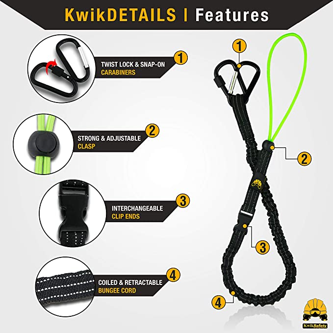 Charlotte, NC Twist Lock /& Clip 3 PACK OCTOPUS Heavy Duty Tool Lanyard with Carabiners Coiled Retractable Bungee Chord Detachable Interchangeable Buckle Straps Adjustable Clip Locks KwikSafety
