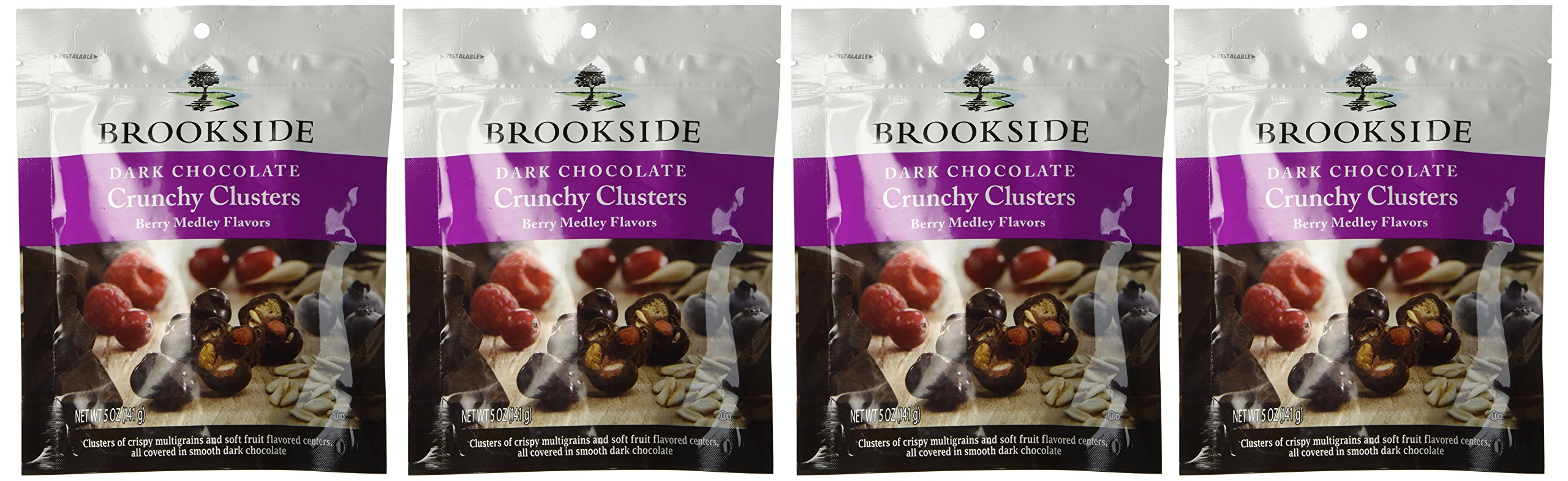 Brookside Dark Chocolate Crunchy Clusters Berry Medley Fruit Flavors Pouch, 5 Ounce(pack of 4 Bags)