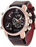 DETOMASO Herren-Multifunktionsuhr Casabona Black XXL mit 3 Zeitzonen,  goldenem Edelstahl-Gehäuse und schwarzem breitem Unterleg-Armband. Sehr große sportliche und wasserdichte Quarz Herren-Uhr