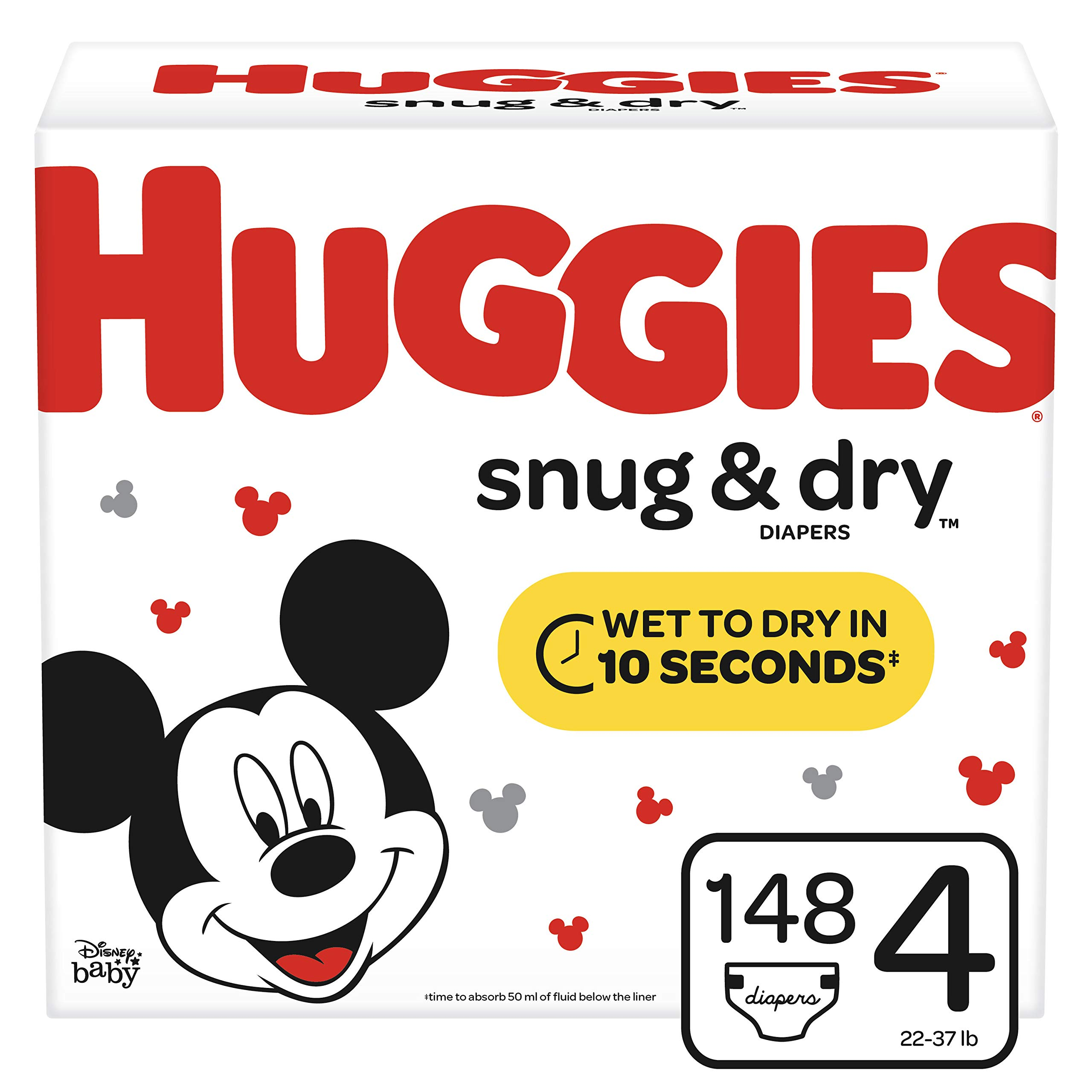 Huggies Snug & Dry Diapers, Size 4 (22-37 lb.), 148 Ct, Giant Pack (Packaging May Vary) by HUGGIES