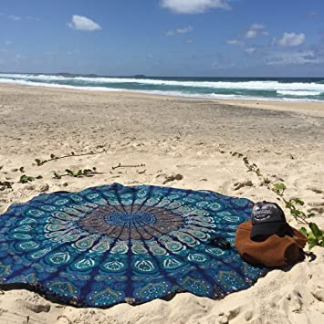 runde Meditations-Yoga-Matte no Baumwolle Wandbild Hippie-Stil Dermier Runder Strandtuch mit Pfaufeder-Mandala-Motiv dekorativer Wandbehang Boho-Stil Tagesdecke