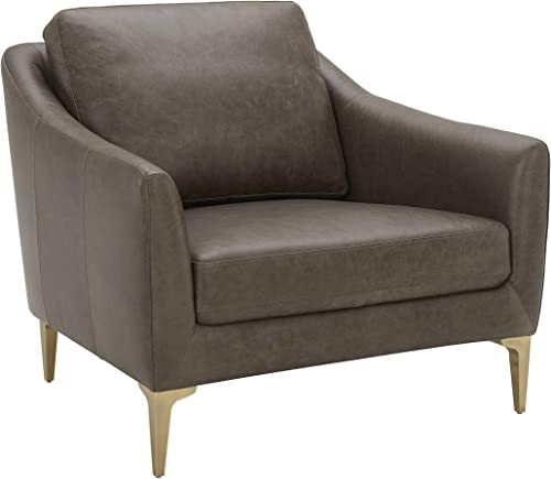 Amazon Brand Rivet Alonzo Contemporary Leather Living Room Accent Chair