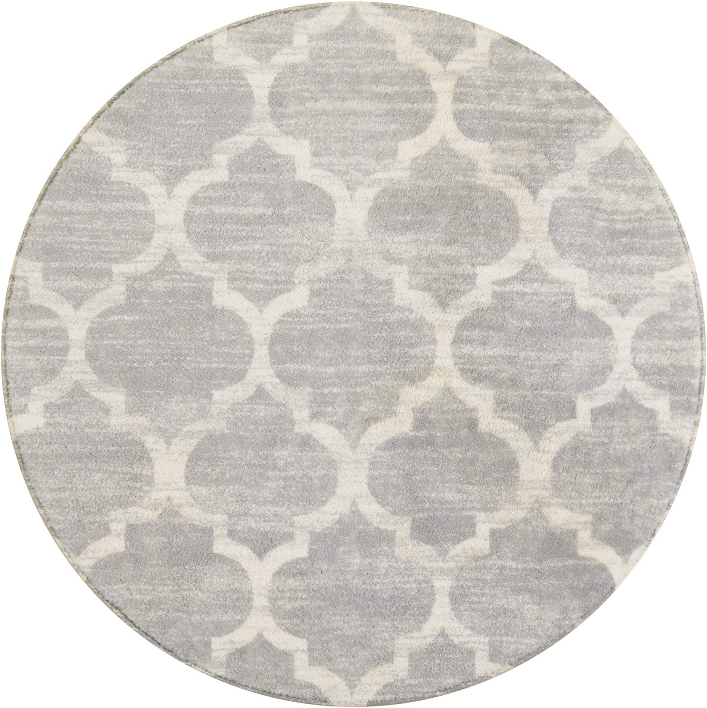 Lahome Moroccan Area Rug - 4' Diameter Faux Wool Non-Slip Area Rug Small Accent Distressed Throw Rugs Floor Carpet for Door Mat Entryway Bedrooms Laundry Room Decor (Round - 4' Diameter, Gray)