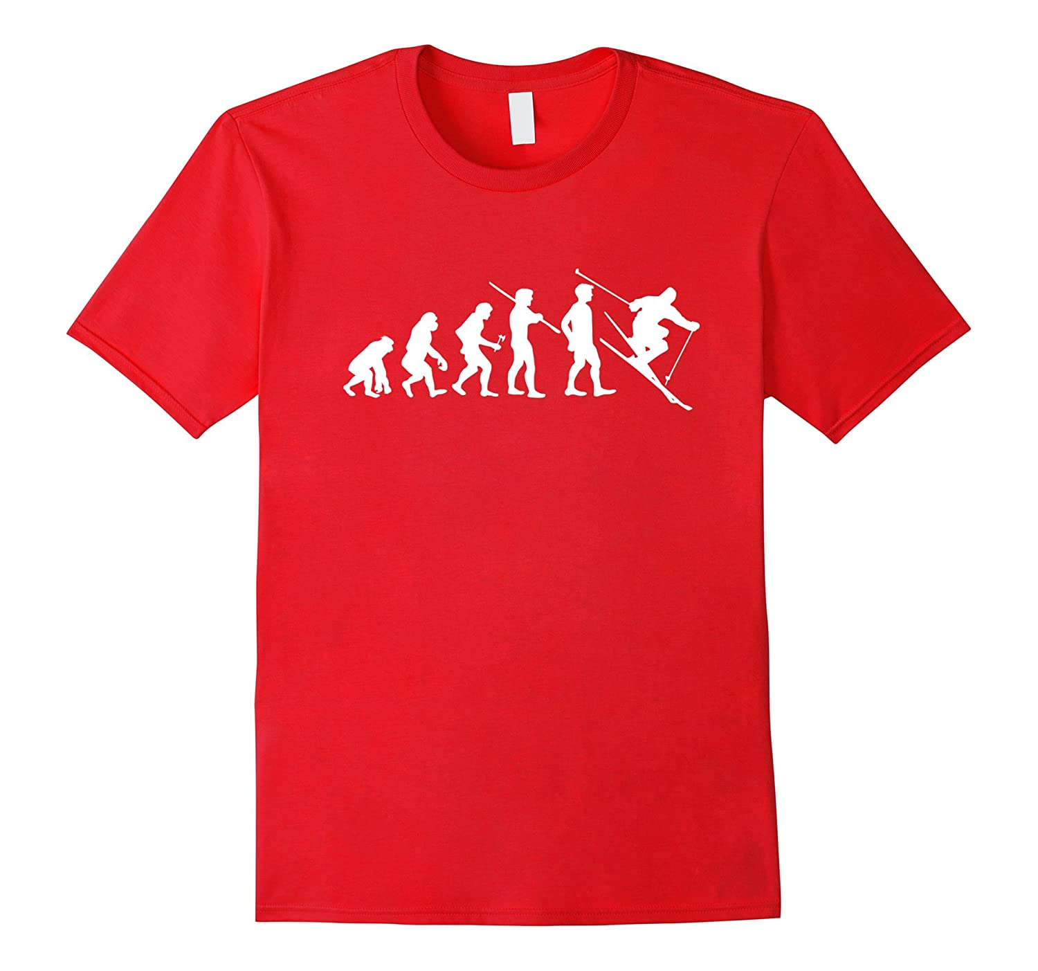 Evolution Skiing Funny T-shirt Freestyle Ski Winter Slopes-T-Shirt