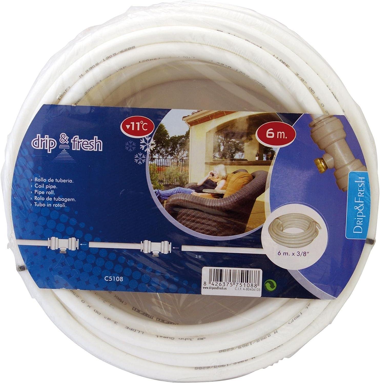 Drip&Fresh Rollo de tubería Blanca con Tratamiento Anti UV, 6 m, C5108