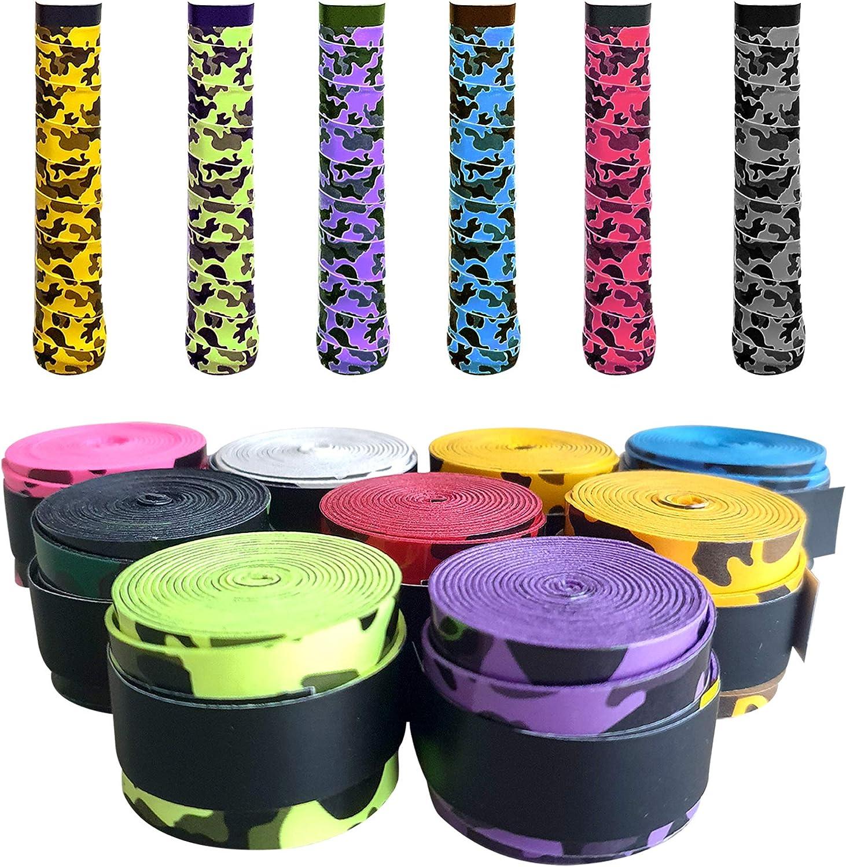 PCLstore Overgrips Pro para Pala Padel, Raqueta Tenis o Badminton - 9 Grips de Camuflaje Absorbentes y Antideslizantes - Empuñaduras de Elite Perforadas