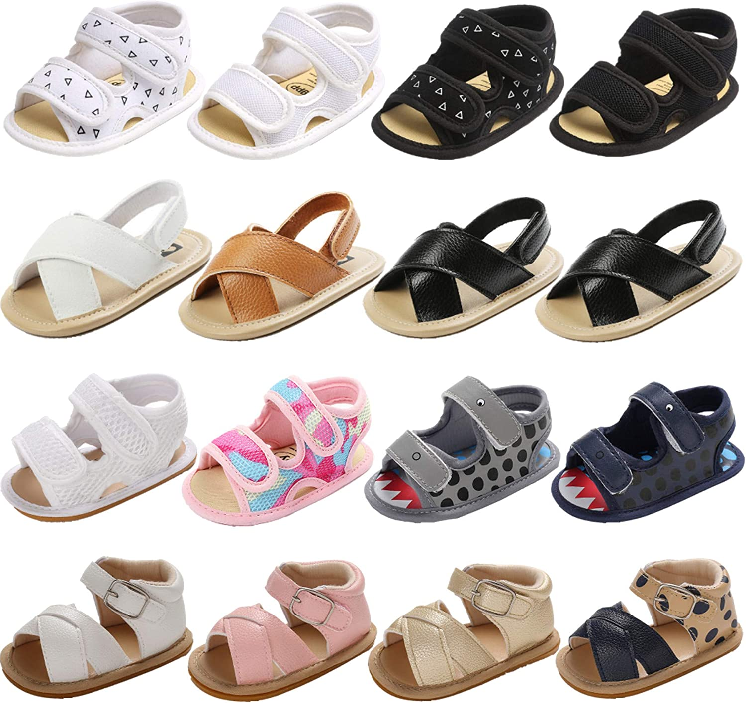 Baby Girls Boys Sandals Premium Breathable Anti-Slip Rubber Sole Infant Summer Outdoor Shoes Toddler First Walkers