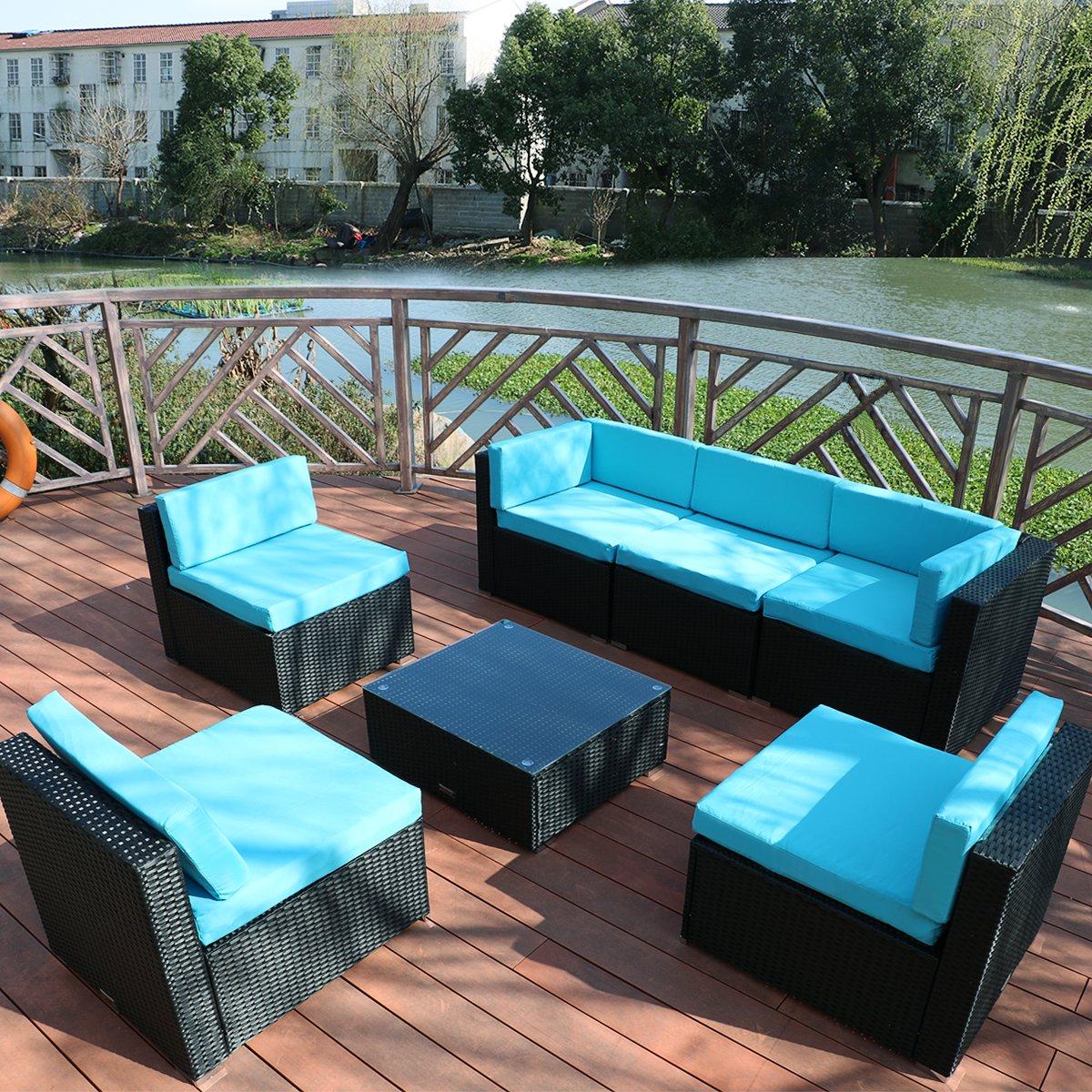 Yardeen 7 Piece Outdoor Patio Furniture Rattan Wicker