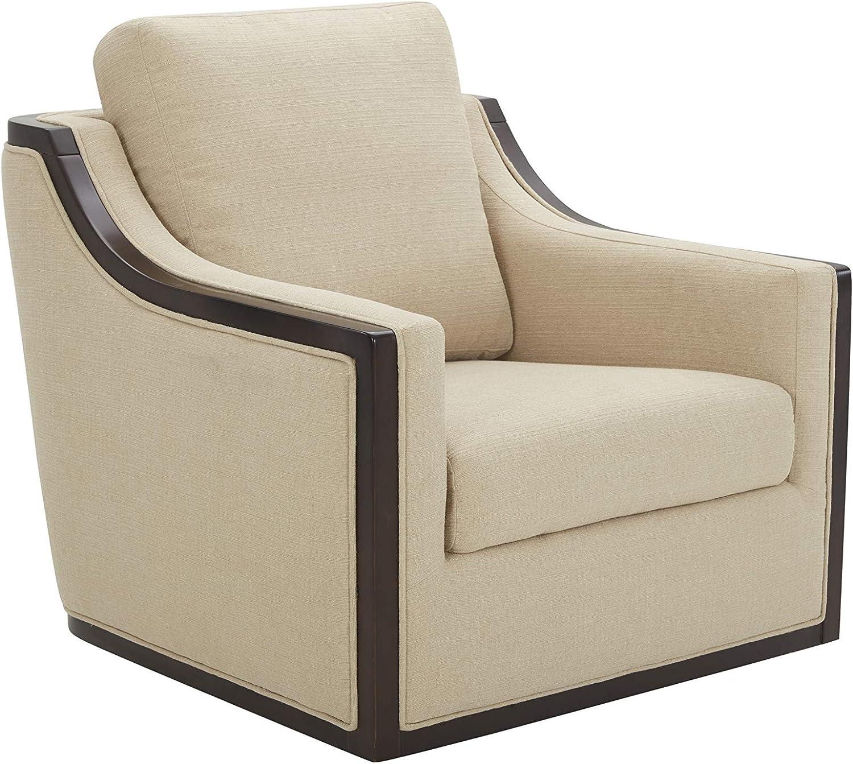 """Amazon Brand – Stone & Beam Hansberry Upholstered Swivel Chair, 34.4""""W, Hemp"""