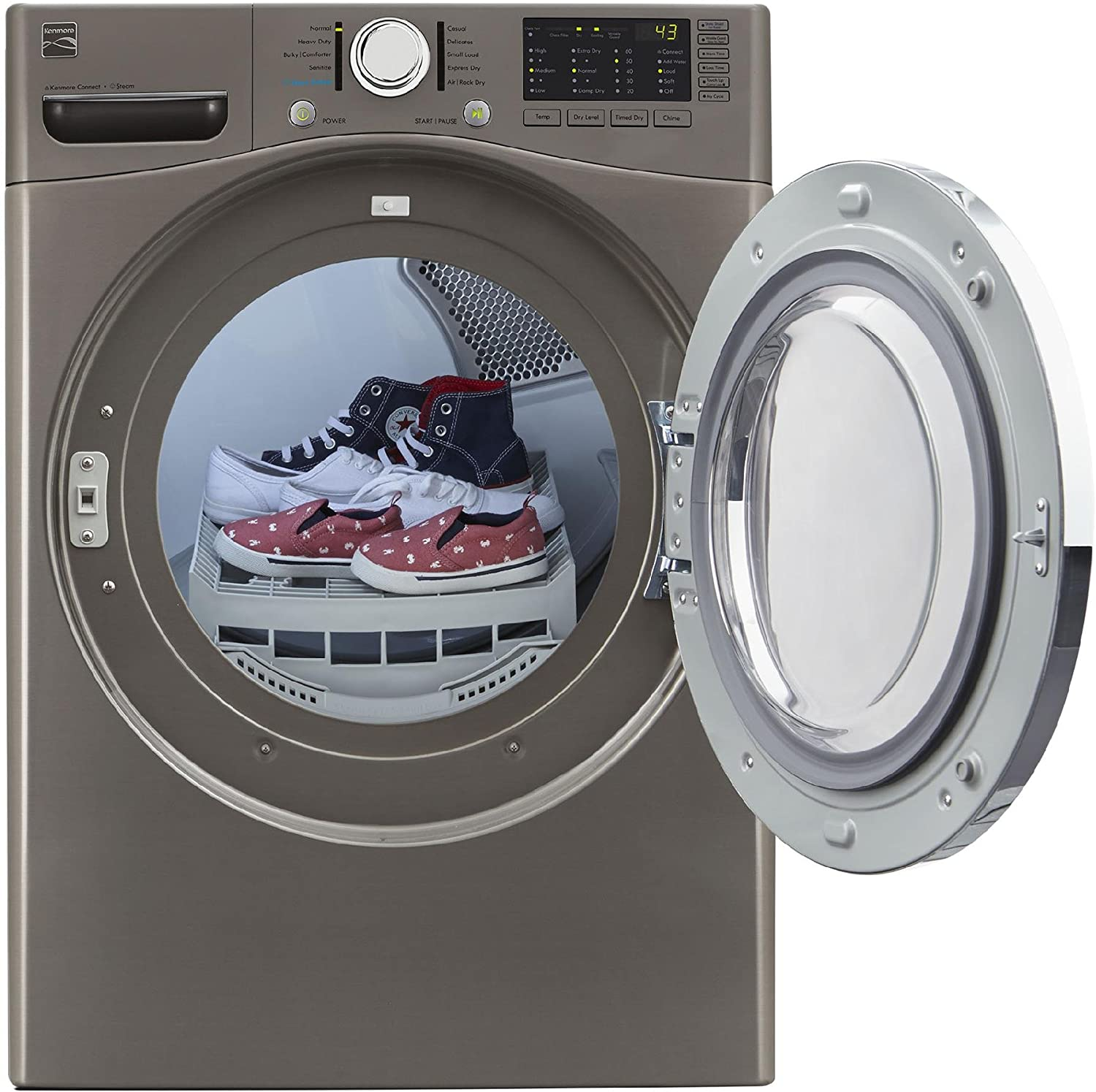 ft Compatible Alexa Dash cu and Includes Delivery and Hookup Kenmore 81783 Metallic Elite Silver 7.4 Cubic Feet Smart Electric Dryer with Accela Steam