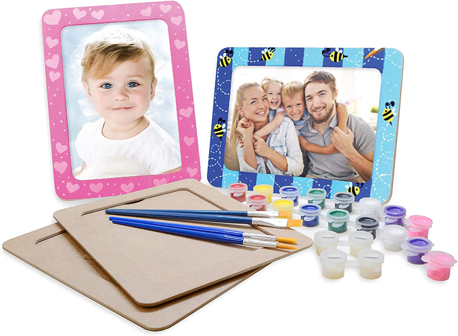 VHALE DIY Paint Your Own Picture Frame, 4 Sets of MDF Wood Photo Frames (5 x 7 inch) with Stand, for Children to Paint and Decorate, Classroom Arts and Crafts, Party Favors for Kids
