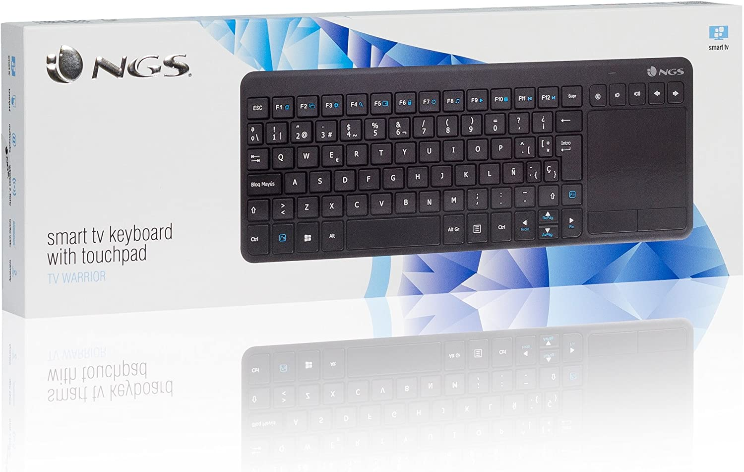 NGS TV Warrior Teclado inalámbrico con Touchpad y Teclas Multimedia para SmartTV, Querty, Color Negro: Ngs: Amazon.es: Informática