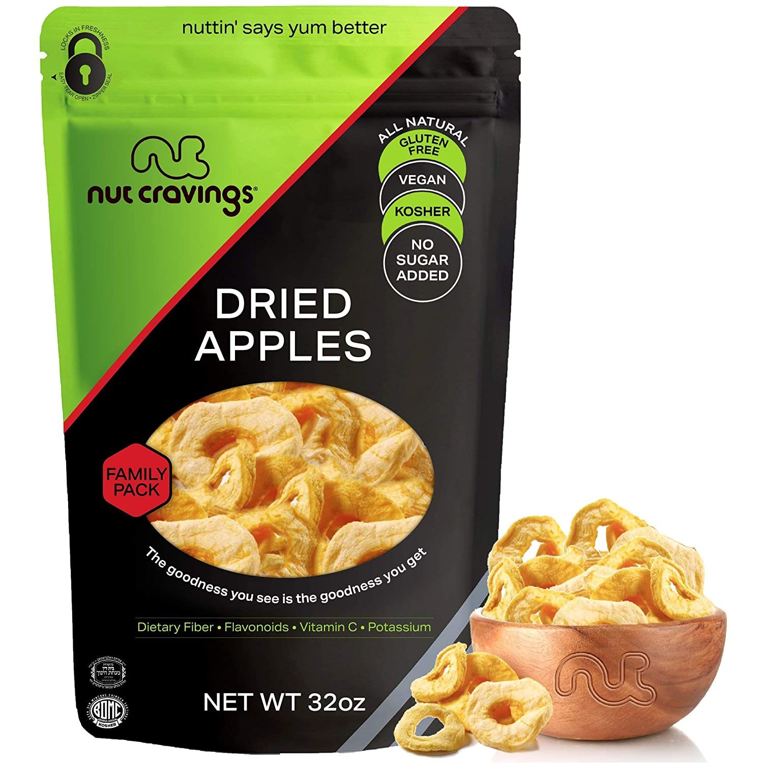 Sun Dried Apple Rings Slices, No Sugar Added (32oz - 2 Pound) Packed Fresh in Resealable Bag - Sweet Dehydrated Fruit Treat, Trail Mix Snack - Healthy Food, All Natural, Vegan, Kosher Certified