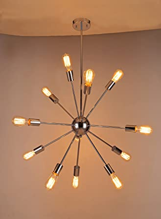 Naturous 12 Lights Pendant Light Silver Modern Satellite Style