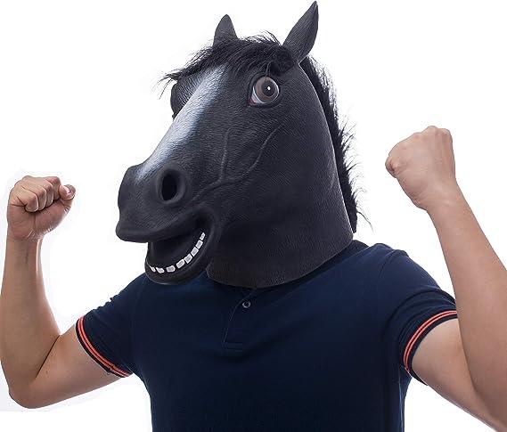 molezu Látex máscaras Negro Caballo Cabeza Animal para Super ...