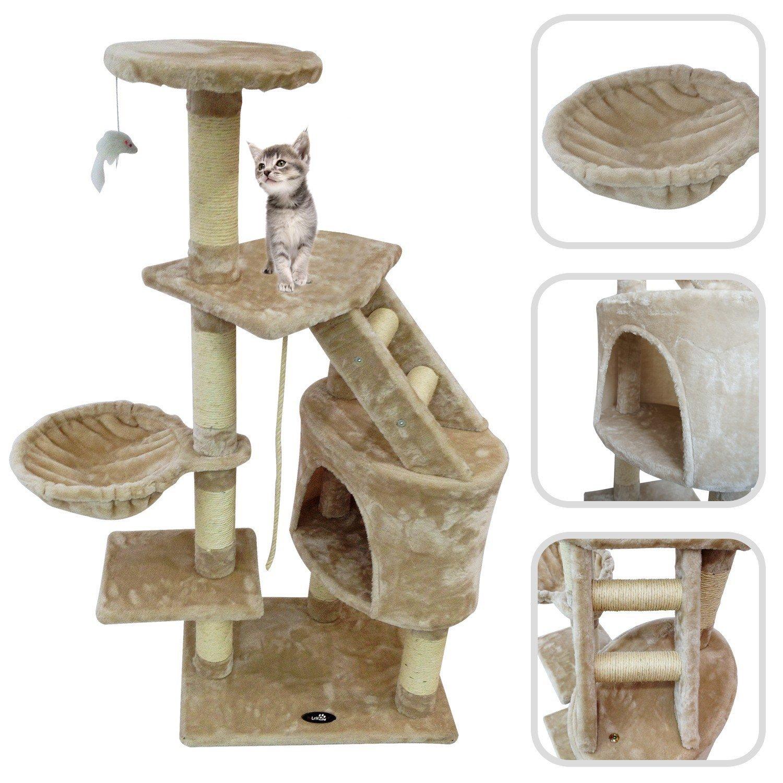 Árbol para gato de color beige con rascador – Torre para rascar